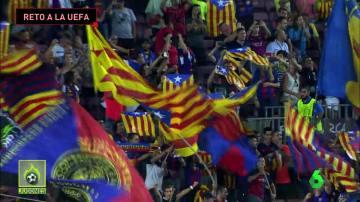 Manifestación política en el Camp Nou
