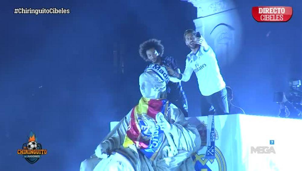 Ramos y Marcelo, en la Cibeles